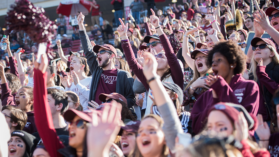 Student fans cheer